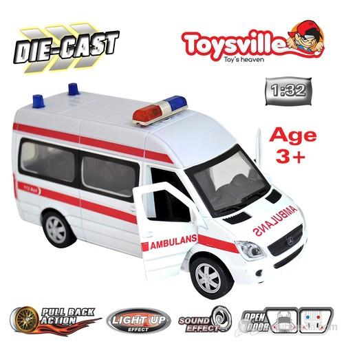 Toysville 110 Ambulans 1/32 Metal Çek Bırak Beyaz Sesli & Işıklı
