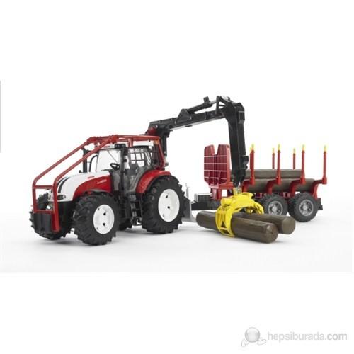Bruder Steyr CVT 6230 Forestry Römorklu Tomruk Taşıyan Traktör - 03093