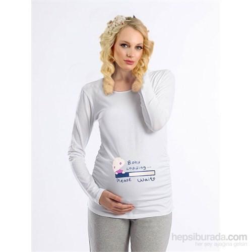 Elija Hamile Baby Loading T-shirt Uzun Kol / Beyaz