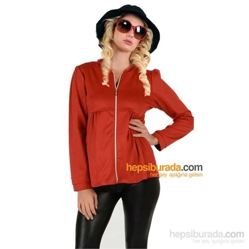 Elija Hamile Fermuarlı Sweat T-Shirt / Kırmızı