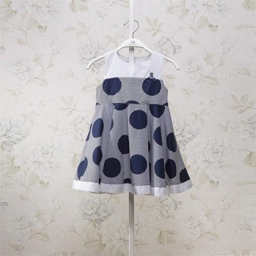 Mona Rosa Puantiyeli Elbise - Lacivert