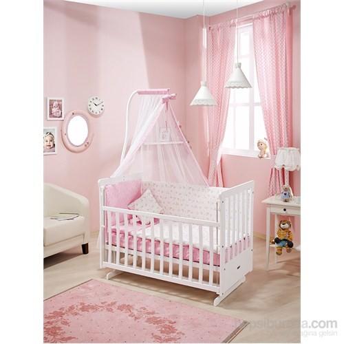 Bebedecor Sallanır Karyola Beyaz Mobilya Sevimli Dostlar / Pembe Tekstil