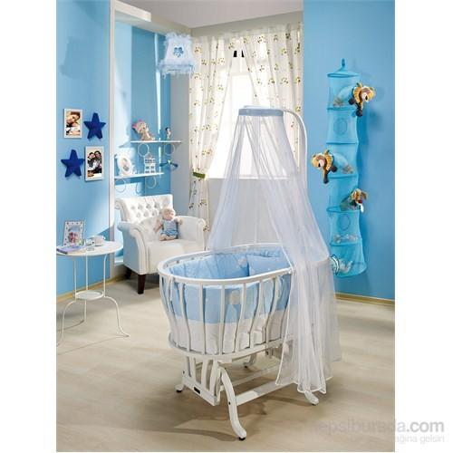 Bebedecor Ege Beşik Beyaz Mobilya / Mavi Tekstil