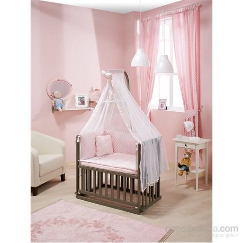 Bebedecor Anne Yanı Beşik Antrasit Mobilya / Baloncuk Pembe Tekstil