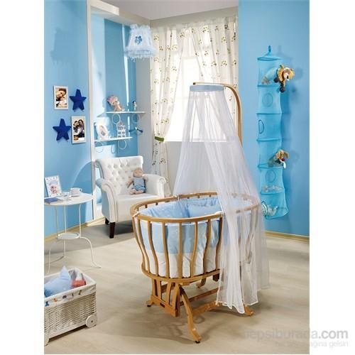 Bebedecor Ege Beşik Naturel Mobilya / Mavi Tekstil