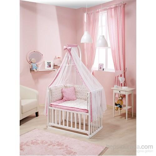Bebedecor Anne Yanı Beşik Beyaz Mobilya Sevimli Dostlar / Pembe Tekstil