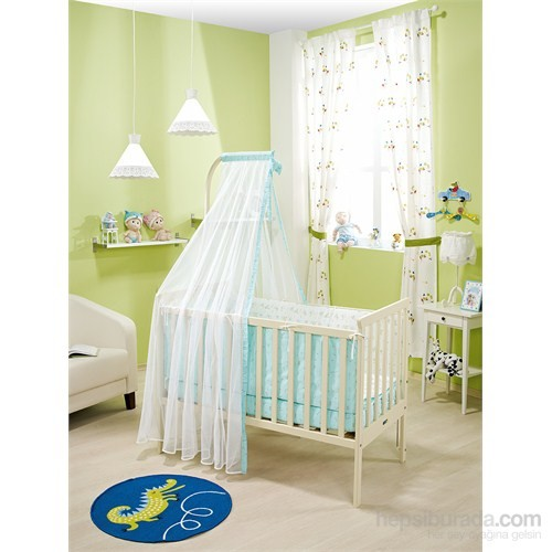 Bebedecor Gediz Karyola Krem Mobilya Sevimli Dostlar / Mavi Tekstil