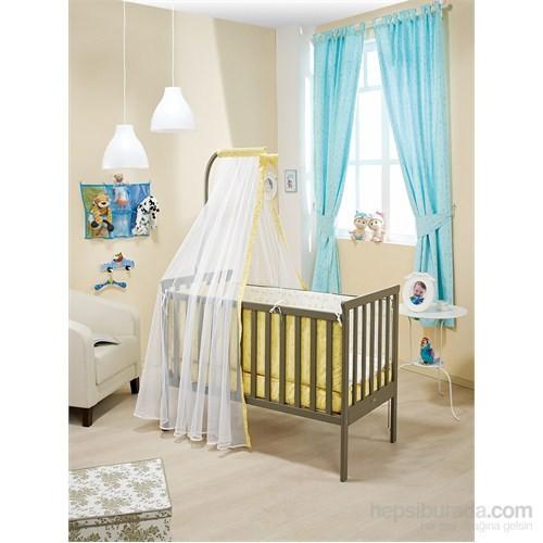 Bebedecor Gediz Karyola Antrasit Mobilya Sevimli Dostlar / Sarı Tekstil