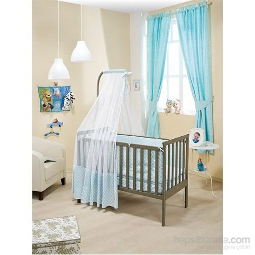 Bebedecor Gediz Karyola Antrasit Mobilya / Baloncuk Mavi Tekstil