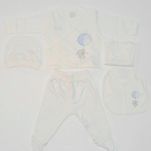 Aziz Bebe 5113 Hastane Çıkış Seti 5Li Ekru-Mavi 0 Ay (50-56 Cm)