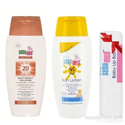 Sebamed Yetişkinler için Güneş Koruyucu Losyon SPF 20+ 150 ml + Sebamed Baby Güneş Koruyucu Losyon SPF 45+ 150 ml- Sebamed Baby Lip Balm Dudak Koruyucu Hediye!