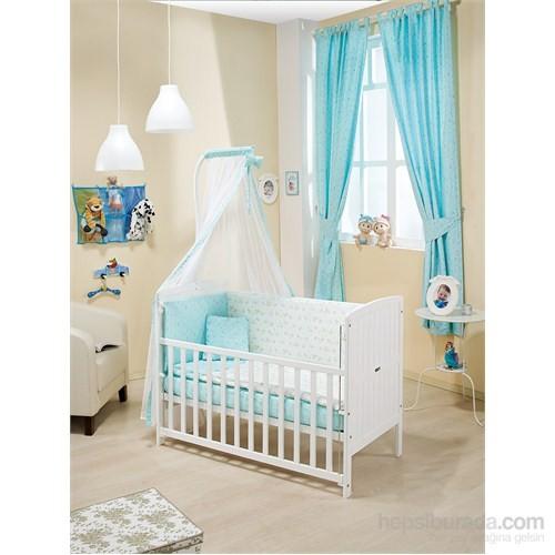 Bebedecor Marmara Karyola Beyaz Mobilya Sevimli Dostlar / Mavi Tekstil