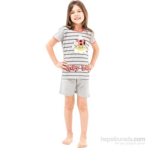Roly Poly 2462 Kısa Kol Kız Çocuk Pijama Takımı 3Lü Gri 1 Yaş (86 Cm)