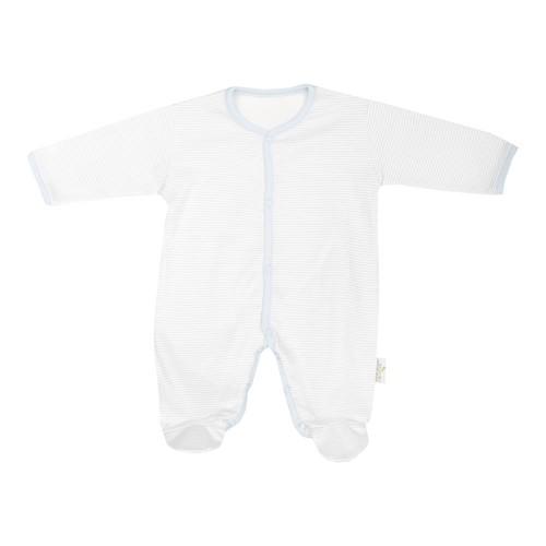 Minou Organik Patikli Bebek Tulum Çizgili Mavi