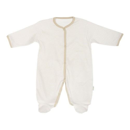 Minou Organik Patikli Bebek Tulum Çizgili Haki