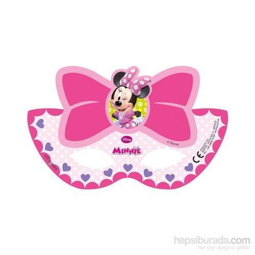 KullanAtMarket Minnie Pembe Fiyonklu Kağıt Maske 6 Adet