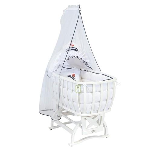 Tahterevalli Atlas Beyaz Beşik Uyku Seti - Marine