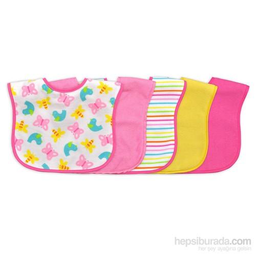 İ Play Sızdırmaz Havlu Cırtlı Bebek Önlük Seti 5 Adet Pembe