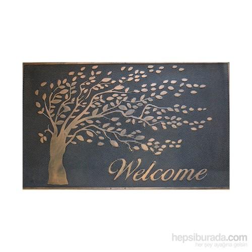 Giz Home Metalic Kapı Paspası 45X75 Hoşgeldin Ağaç