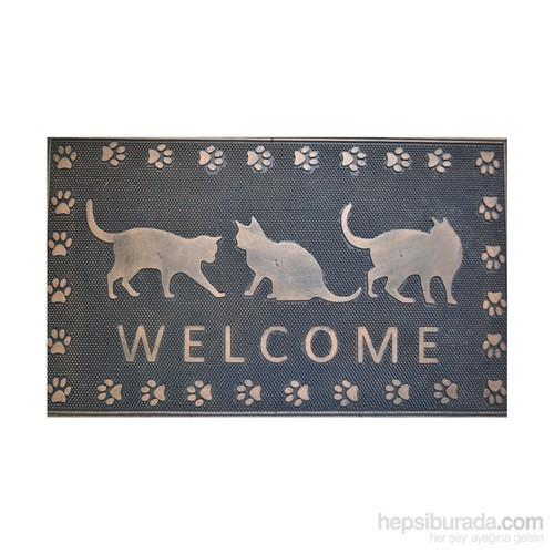 Giz Home Metalic Kapı Paspası 45X75 3 Kedi