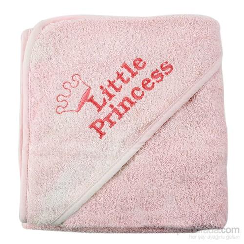 Pompon Little Princess Üçgen Başlıklı Havlu / Pembe