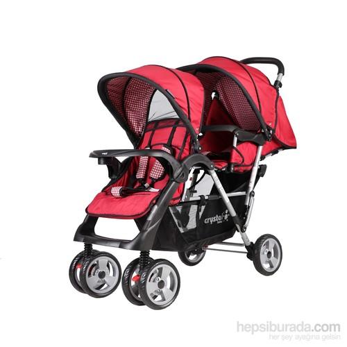 Crystal Baby 234 Armoni İkiz Bebek Arabası - Kırmızı