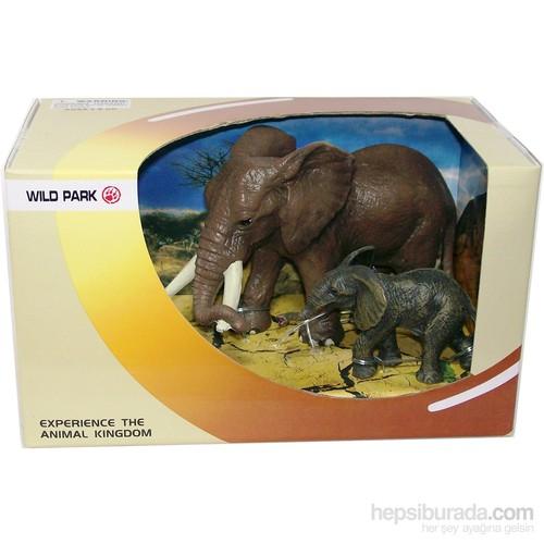 Cc Oyuncak Wild Park Kutuda İki Parça Fil Ve Yavrusu