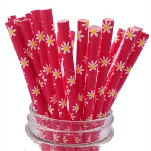 Pandoli Kırmızı Papatya Çiçek Desenli 25 Li Kağıt Pipet