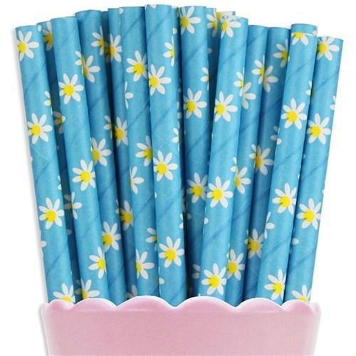 Pandoli Papatya Çiçek Desenli Mavi Kağıt Pipet 25 Adet