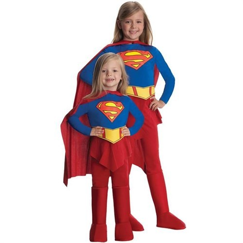 Super Girl Streç Kız Çocuk Kostümü 12-14 Yaş