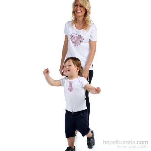 Pamuku Kalp Kravat Anne Bebek Seti 0-3 Ay Anne-Large Beyaz