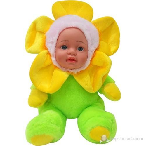 Papatya Yüzlü Peluş Bebek Sarı - Yeşil