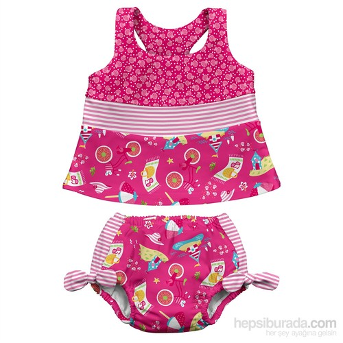 İ Play Upf 50+ Güneş Korumalı Sızdırmaz Tankini Bikini Bebek Takım Pembe