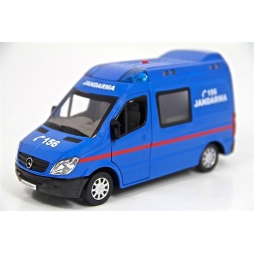 Vardem 1:32 Metal Jandarma Minibüsü (Işıklı Ve Sesli) Çek-Bırak Özellikli