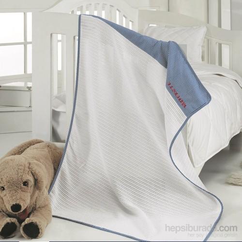 Us Polo Bebe Yatak Örtüsü-Bandon Beyaz Lacivert