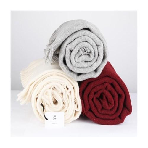 Mella Home Wool Battaniye-Bordo