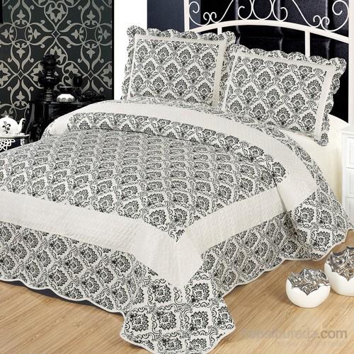 Cotton House Home Collection Nubuk Damask Çift Kişilik Yatak Örtüsü - Siyah