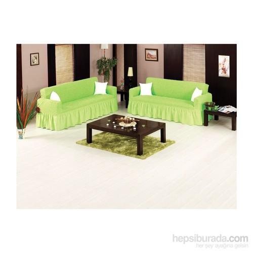 Orkidem 2'Li Çekyat Örtüsü Bürümcük Oturma Grubu - Yeşil