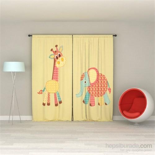 Erenev Desenli Zürafa Pano Desen Fon Perde