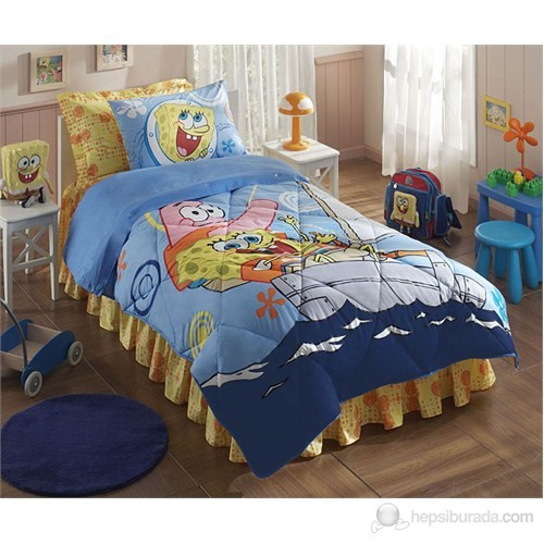 Taç Ranforce Lisanslı Uyku Seti Sponge Bob Boat