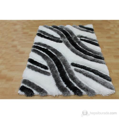 Jüt Tekstil 3 Boyutlu Shaggy Halı 1842A-Siyah 120x180