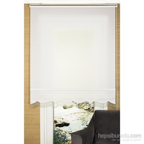 Comforsun Ultra Ekonomik Stor Perde Beyaz Dilimli ve Boncuklu 60x200 cm