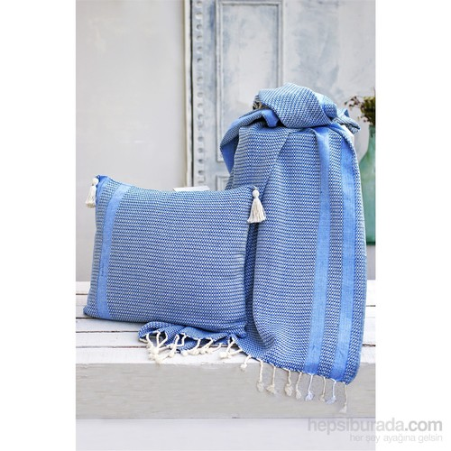 İkikız Mavi Koltuk Şalı Seti
