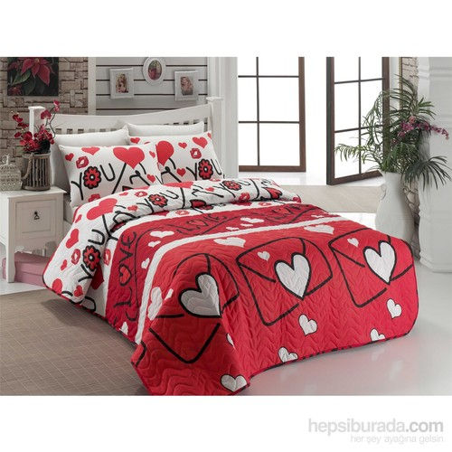 Eponj Home Kapitone Yatak Örtüsü Seti Tek Kişilik Lovestory Kırmızı