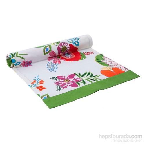 Yastıkminder Koton Oranj Yeşil Çiçek Desenli Runner