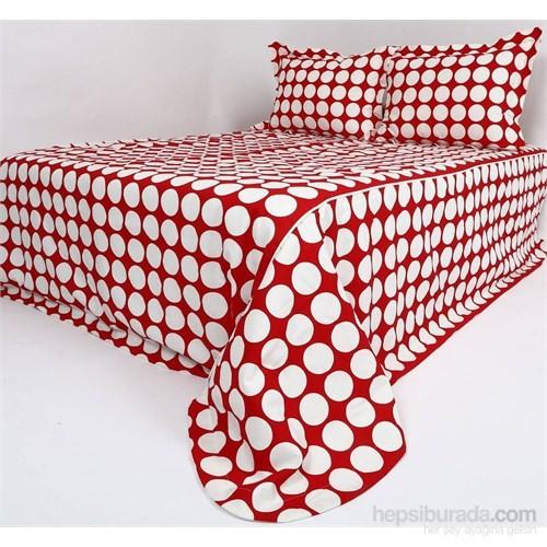 Yastıkminder Kırmızı Beyaz Puantiye Koton Kumaş Yatak Örtüsü