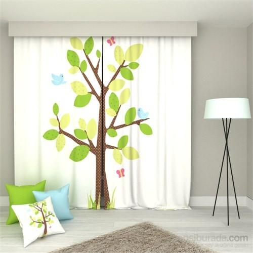 Erenev Benekli Ağaç Pano Desen Fon Perde Sağ