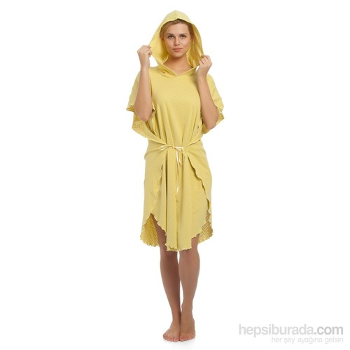 Tril Fıstık Yeşili Dalga Yazlık Penye Panço Bornoz- Plaj Kıyafeti