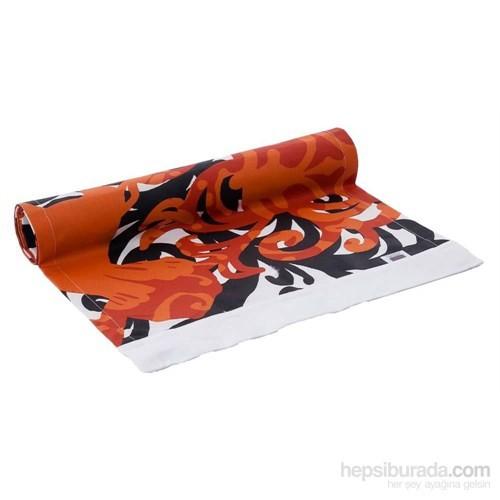 Yastıkminder Koton Siyah Desenli Oranj Runner