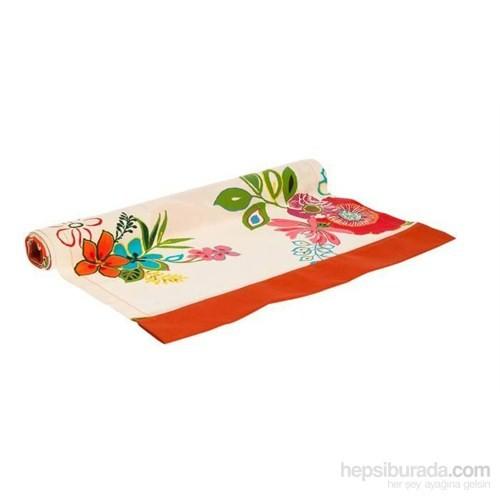 Yastıkminder Koton Beyaz Oranj Çiçek Desen Runner